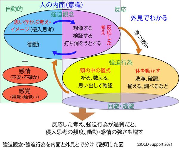 強迫観念と強迫行為を内面と外見でわけて説明した図